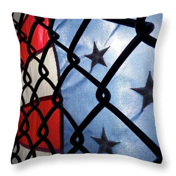 Throw Pillow featuring the photograph On The Fence by Robert Geary