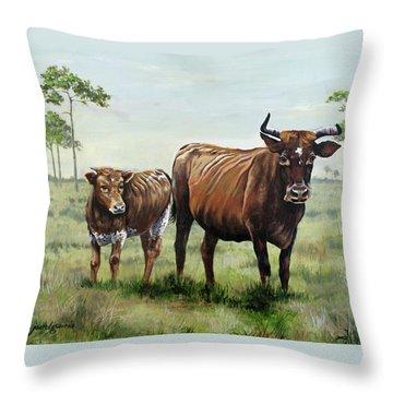 On The Florida Prairie Cracker Cattle Throw Pillow