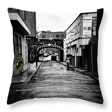 The Rail And The Green Raincoat Throw Pillow