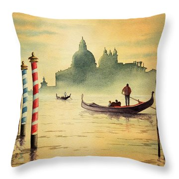 On The Grand Canal Venice Italy Throw Pillow by Bill Holkham