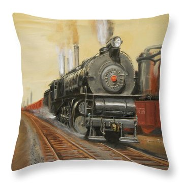 On The Great Steel Road Throw Pillow by Christopher Jenkins