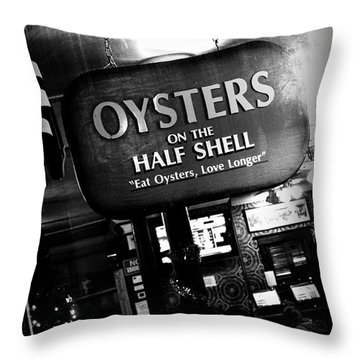 On The Half Shell - Bw Throw Pillow