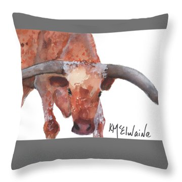 On The Level Texas Longhorn Watercolor Painting By Kmcelwaine Throw Pillow