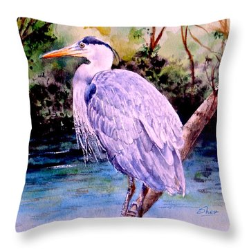 Throw Pillow featuring the painting On The Lookout by Sher Nasser
