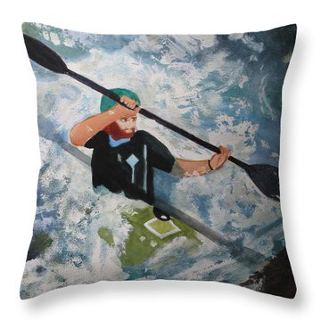 Throw Pillow featuring the painting On The New by Sandy McIntire