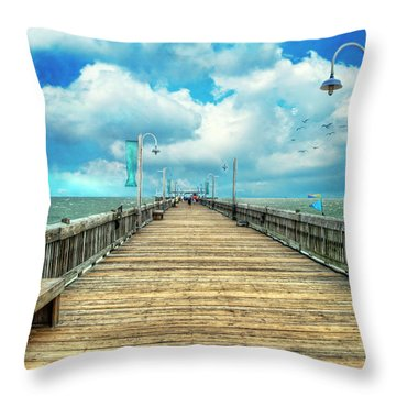 On The Pier At Tybee Throw Pillow by Tammy Wetzel