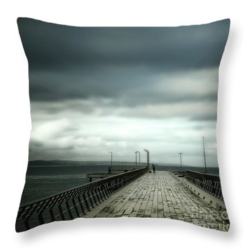 Throw Pillow featuring the photograph On The Pier by Perry Webster