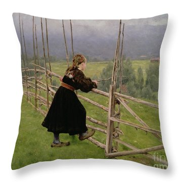 On The Plain Throw Pillow by Karl Fredrick Nordstrom