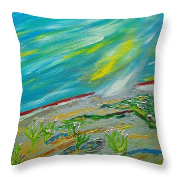 On The Planet. The Fall Of A Meteorite On The Planet Throw Pillow