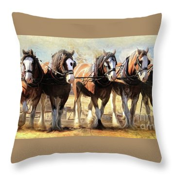 Throw Pillow featuring the digital art  On The Plough by Trudi Simmonds