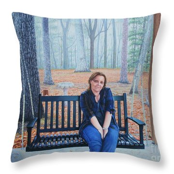 Throw Pillow featuring the painting On The Porch Swing by Mike Ivey