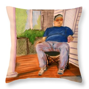 On The Porch With Uncle Pervy Throw Pillow