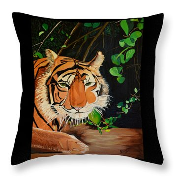 On The Prowl Throw Pillow by Donna Blossom