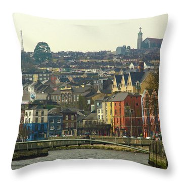On The River Lee, Cork Ireland Throw Pillow by Marie Leslie