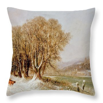 On The River Neckar Near Heidelberg Throw Pillow by Joseph Paul Pettit