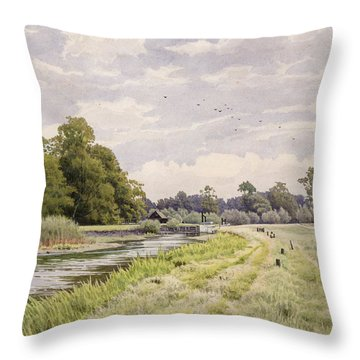 On The River Ouse Hemingford Grey Throw Pillow by William Fraser Garden