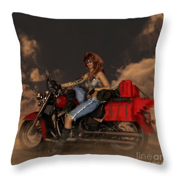 Throw Pillow featuring the digital art On The Road Again by Shanina Conway