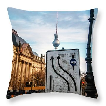 On The Road In Berlin Throw Pillow