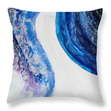 On The Road In Blue Throw Pillow