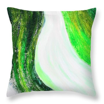 On The Road In Green Throw Pillow
