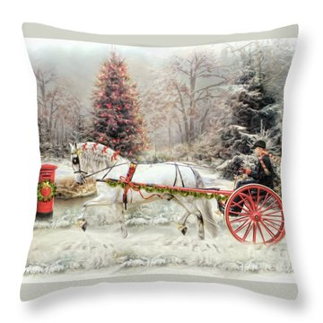 On The Road To Christmas Throw Pillow
