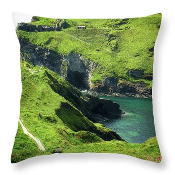 Throw Pillow featuring the photograph On The Road To Tintagel by Connie Handscomb