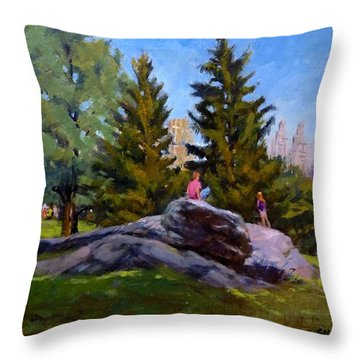 On The Rocks In Central Park Throw Pillow