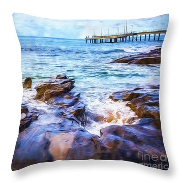 Throw Pillow featuring the photograph On The Rocks by Perry Webster