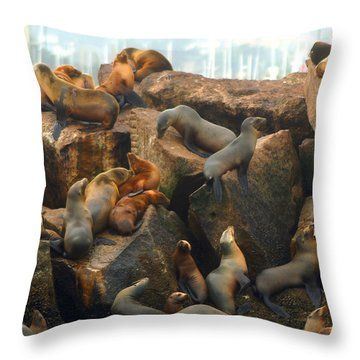 On The Rocks - Squared Throw Pillow