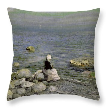 On The Shore Of The Black Sea Throw Pillow by Konstantin Alekseevich Korovin