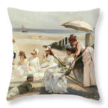 On The Shores Of Bognor Regis Throw Pillow
