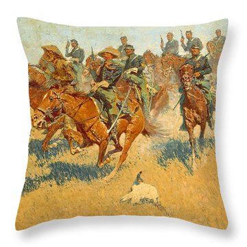Throw Pillow featuring the photograph On The Southern Plains Frederic Remington by John Stephens