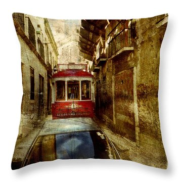 Throw Pillow featuring the photograph On The Streets Of Lisbon by Dariusz Gudowicz