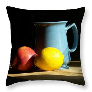 Throw Pillow featuring the photograph On The Table 1- Photograph by Jackie Mueller-Jones