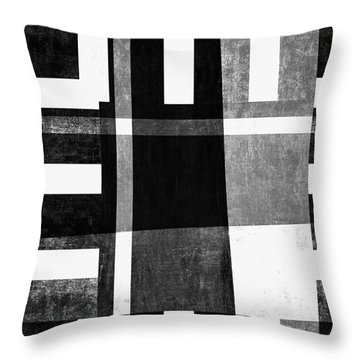 Throw Pillow featuring the photograph On The Tarmac Designer Series 13a04bw by Carol Leigh