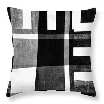 Throw Pillow featuring the photograph On The Tarmac Designer Series 3a14bwflip by Carol Leigh