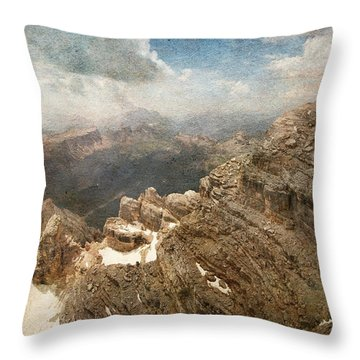 On The Top Of The Mountain  Throw Pillow