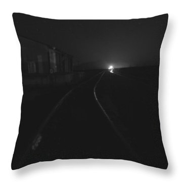 On The Tracks At Night Throw Pillow