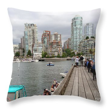On The Water At False Creek Vancouver Throw Pillow by Rod Jellison
