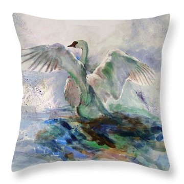 On The Water Throw Pillow by Khalid Saeed
