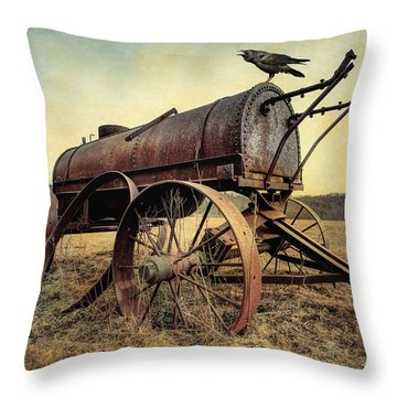 Throw Pillow featuring the photograph On The Water Wagon - Agricultural Relic by Gary Heller
