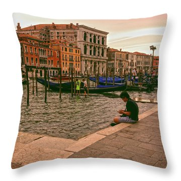 Throw Pillow featuring the photograph On The Waterfront by Anne Kotan