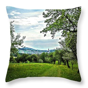 On The Way To Gramastetten ... Throw Pillow by Juergen Weiss