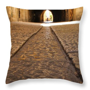 On The Way To The Western Wall - The Kotel - Old City, Jerusalem, Israel Throw Pillow by Yoel Koskas