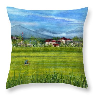 Throw Pillow featuring the painting On The Way To Ubud 3 Bali Indonesia by Melly Terpening
