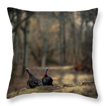 On The Woodlot Path Throw Pillow