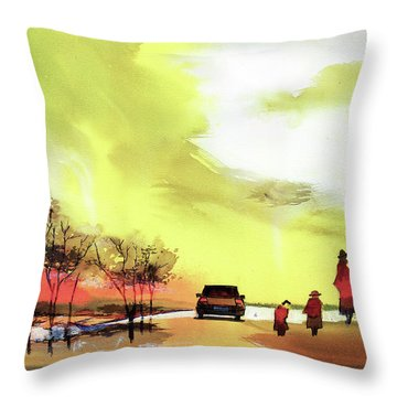 Throw Pillow featuring the painting On Vacation by Anil Nene