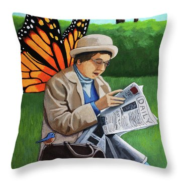 On Vacation -butterfly Angel Painting Throw Pillow