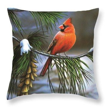 On Watch - Cardinal Throw Pillow