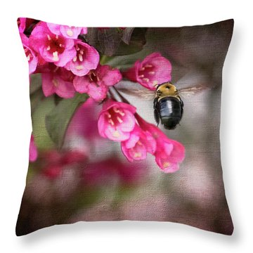 On Wine And Roses Weigela - 2 Throw Pillow